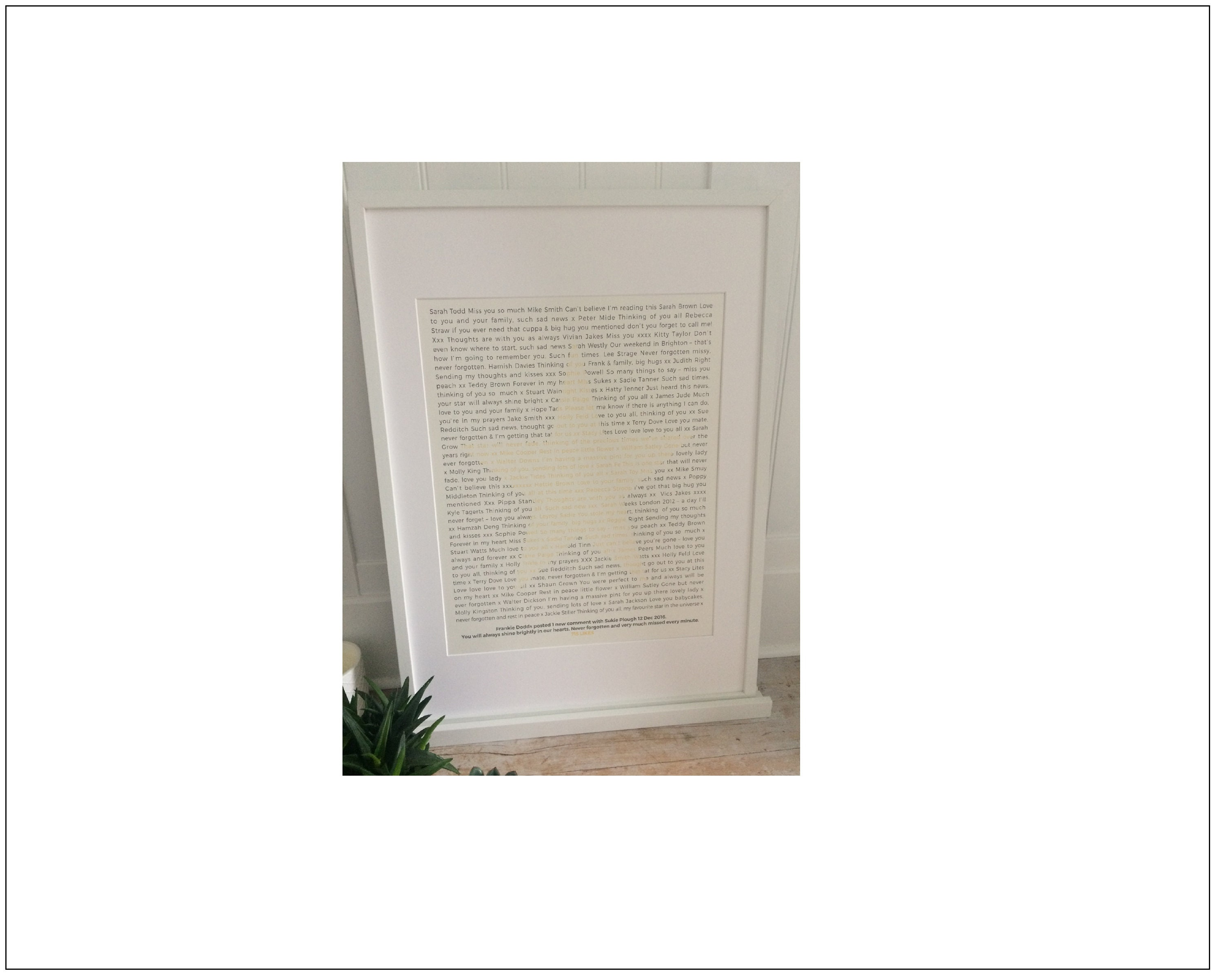 Facebook Memorial Post Print  Beautiful Personalised Keepsake  Print fits  into Ikea Ribba Frame making a super special yet affordable gift