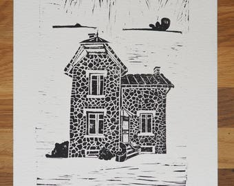 Linocut - Little stone House - Limited Edition