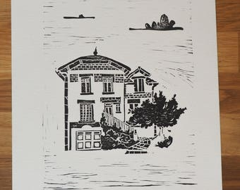 Linocut - Little brick house - limited edition
