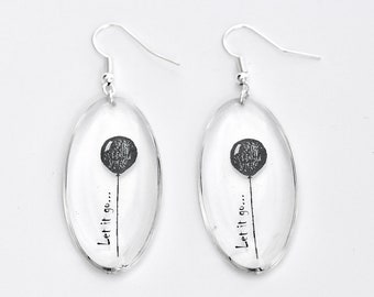 Inspiration Earrings– Epoxy Resin earrings – Transparent Earrings - Let it go - Gift for Her – Modern Jewellery – Bridesmaid Gift