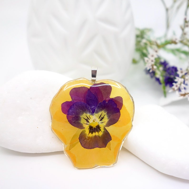 Pressed Plants Nature Jewellery Pressed Flowers Jewelry Pressed Pansy Pendant Pansies Jewellery Yellow Pansy Real Flower Pendant