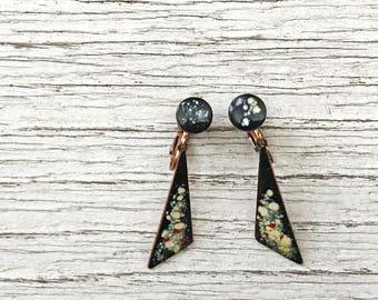 Mid Century Modernist Copper Enamel Dangle Clip On Earrings