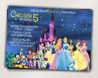 Disney Castle Invitation Characters Princess Birthday Party All