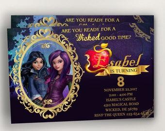 Descendants Invitation Birthday Party 2 Invites Printables