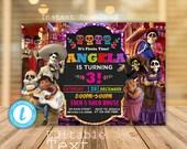 Coco Invitation, Coco Birthday Invitation, Coco Party, Coco Fiesta Birthday Invitation, Dia De Los Muertos, Fiesta Birthday Invitation