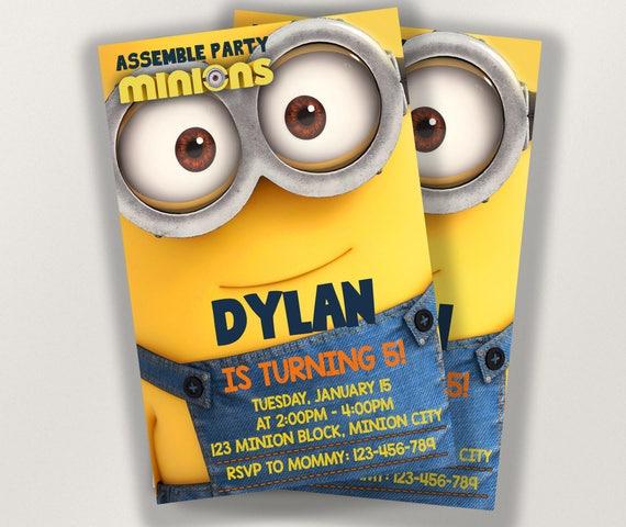 Minion Editable Birthday Invitation Template DIY Printable