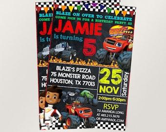 Blaze invitation,Blaze and the monster machines,Blazed birthday,Blaze invites,PDF editable invitation,Blaze party,invitation Monster