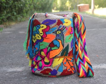 Large Wayuu tote Bag Tapistry Birds edition