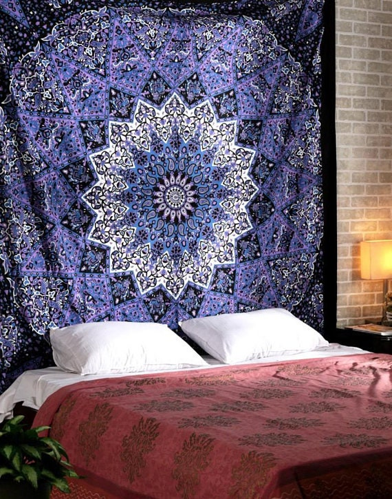 King Wall Hanging Indian Mandala Tapestry Ombre Hippie Bedspread Beach Blanket