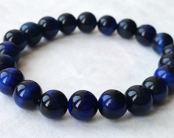 Blue Tiger Eye beaded bracelet, natural gemstones