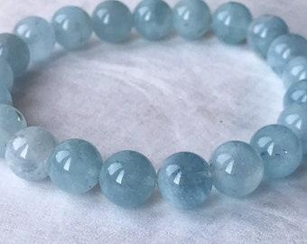 Aquamarine beaded bracelet, natural gemstones