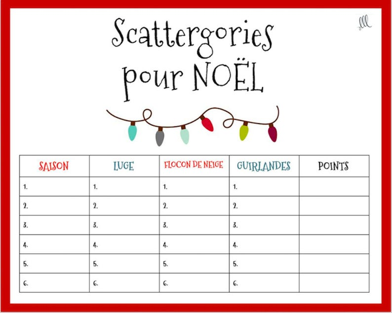graphic regarding Scattergories Answer Sheets Printable titled French Xmas Scattergories Match - Printable obtain