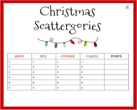 Christmas Scattergories Game Etsy