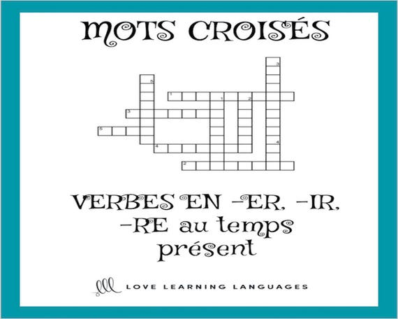 French ER IR RE verbs crossword puzzle Regular verbs | Etsy
