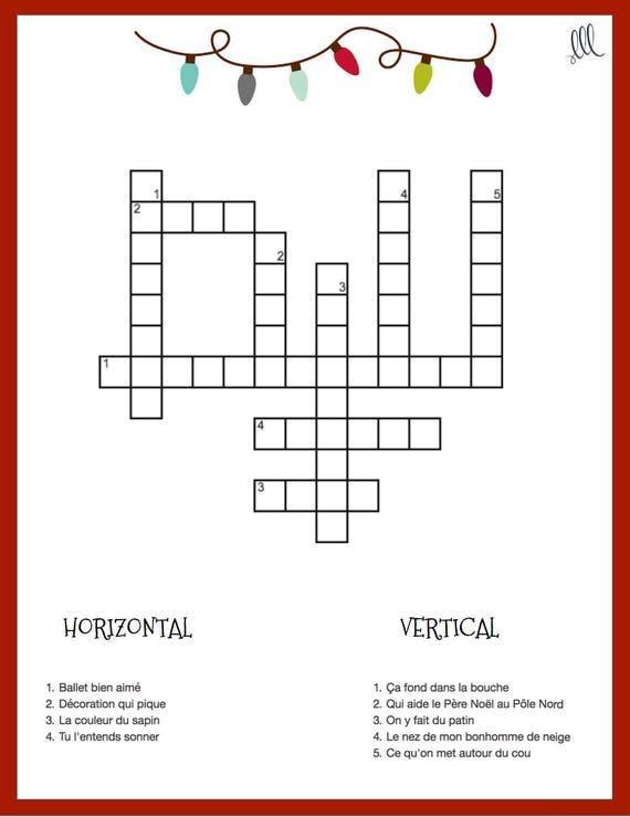 Christmas Crossword.French Christmas Crossword Puzzle Printable Download Mots Croises Pour Noel