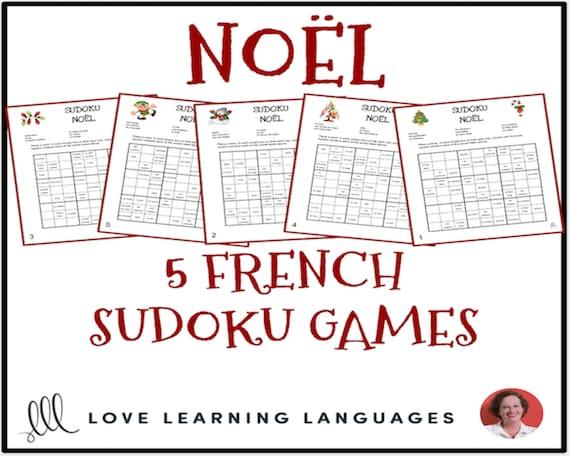 Christmas Sudoku.French Christmas Vocabulary Noel Sudoku Puzzles Printable Download