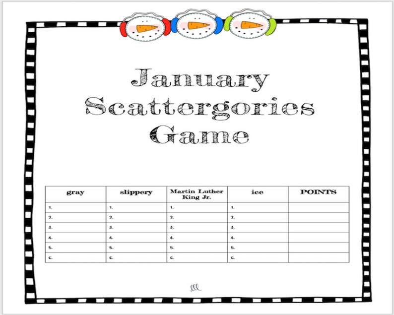 graphic about Scattergories Junior Lists Printable identified as January Vocabulary Scattergories Match - Printable obtain