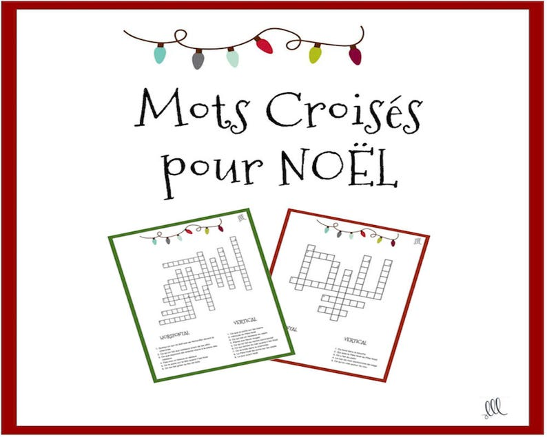 Christmas Crossword Puzzle.French Christmas Crossword Puzzle Printable Download Mots Croises Pour Noel