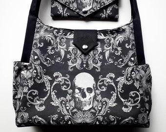 Skull Shoulder Bag, Gothic Handbag for Women, Handcrafted Horror Hobo Tote