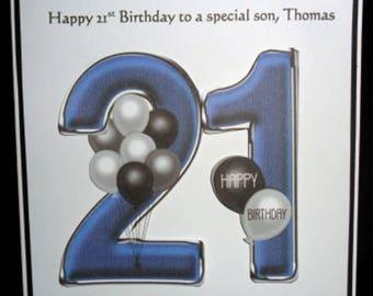 Personalised Handmade Balloons 21st Birthday Card Son Grandson Godson Nephew Step
