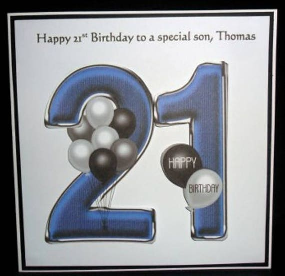Personalised Handmade Balloons 21st Birthday Card Son Grandson Godson Nephew Step