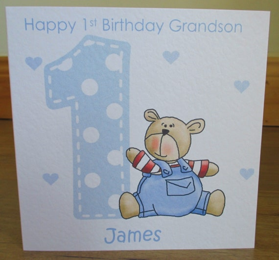 Personalised Handmade Age Teddy 1st 2nd 3rd Blue Birthday Card