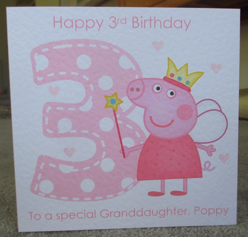 Personalised Handmade 1st 2nd 3rd 4th Peppa Pig Birthday Card Daughter Granddaughter Goddaughter Niece Stepdaughter