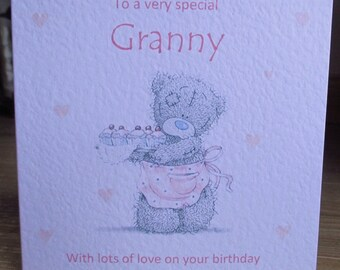 Personalised Baking Tatty Teddy Cupcakes Birthday Card Any Relation any Text