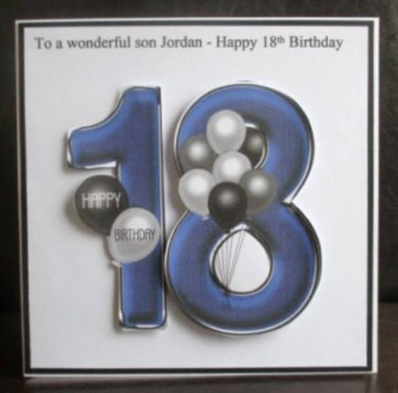 Personalised Handmade Balloons 18th Birthday Card Son Grandson