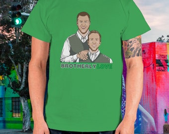 d12ba2228 Philadelphia Eagles Carson Wentz And Nick Foles Brotherly Love T Shirt  Unisex Heavy Cotton Tee
