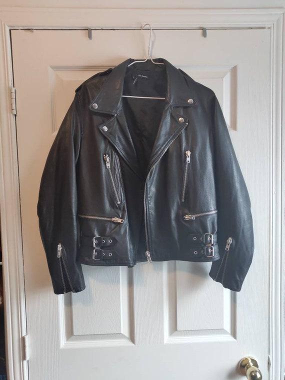 British-style leather motorcycle jacket