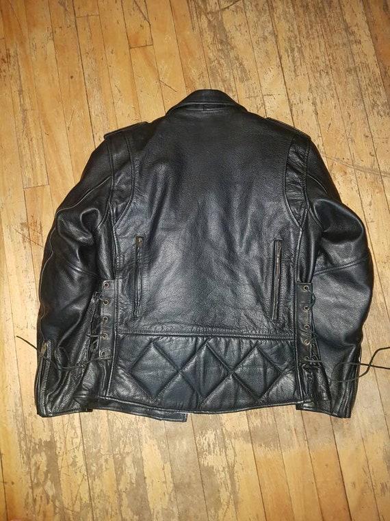 Padded leather motorcycle jacket