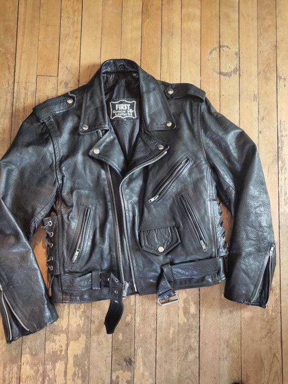 Small leather motorcycle jacket