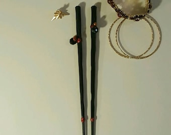 Pearl and stone wooden hair sticks