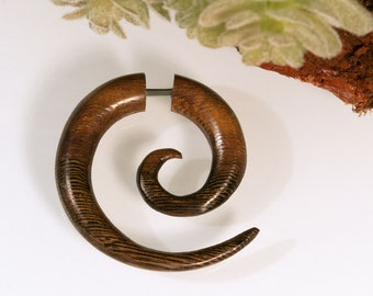 Holzohrring Fake Piercing Spirale Holz Ohrring braun Schraubohrring