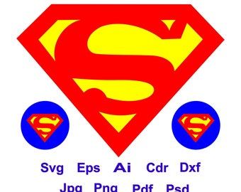 Superman Logo Superhero Svg Cricut Silhouette Cutting File Eps Ai Cdr Png Pdf Dxf Vector Dc Sign