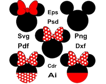 70% off, Mickey Mouse Svg, Mickey Mouse Monogram, Mickey Head Svg, Minnie Mouse Svg, Minnie Mouse Ears Svg, Disney Clipart, Mickey Cricut