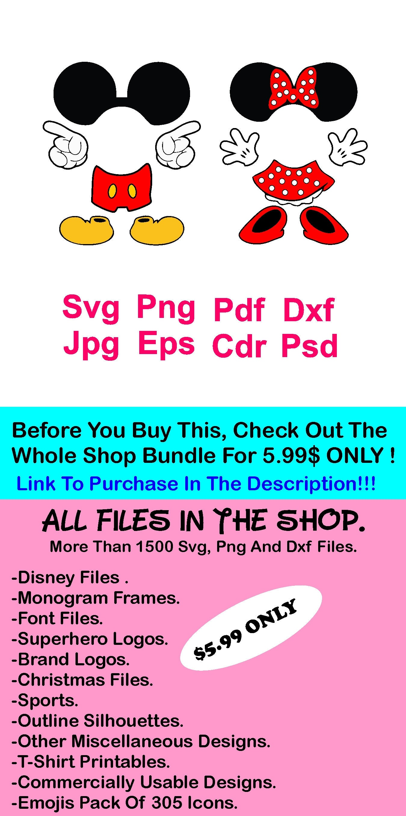70% OFF Mickey Mouse Svg Minnie Mouse Svg Mickey Body Parts | Etsy