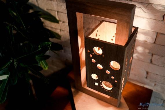 Moonlight Lampe En Bois Massif Faite Main Design Unique Etsy