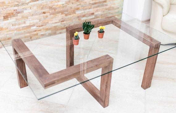 Table Basse En Bois Massif Plateau En Verre Rectangulaire Design Original Brut Scandinave Industriel Wood Table Coffee Table Glass Gorgona