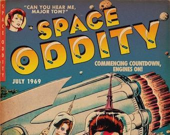 "David Bowie ""Space Oddity"" Sci-Fi Comic Book Mashup Art Print"