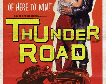 """Bruce Springsteen """"Thunder Road"""" Hot Rod Movie Poster Mashup Art Print"""