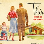 """Talking Heads """"This Must Be The Place (Naive Melody)"""" 1950s Housing Development Advertisement Mashup Art Print"""