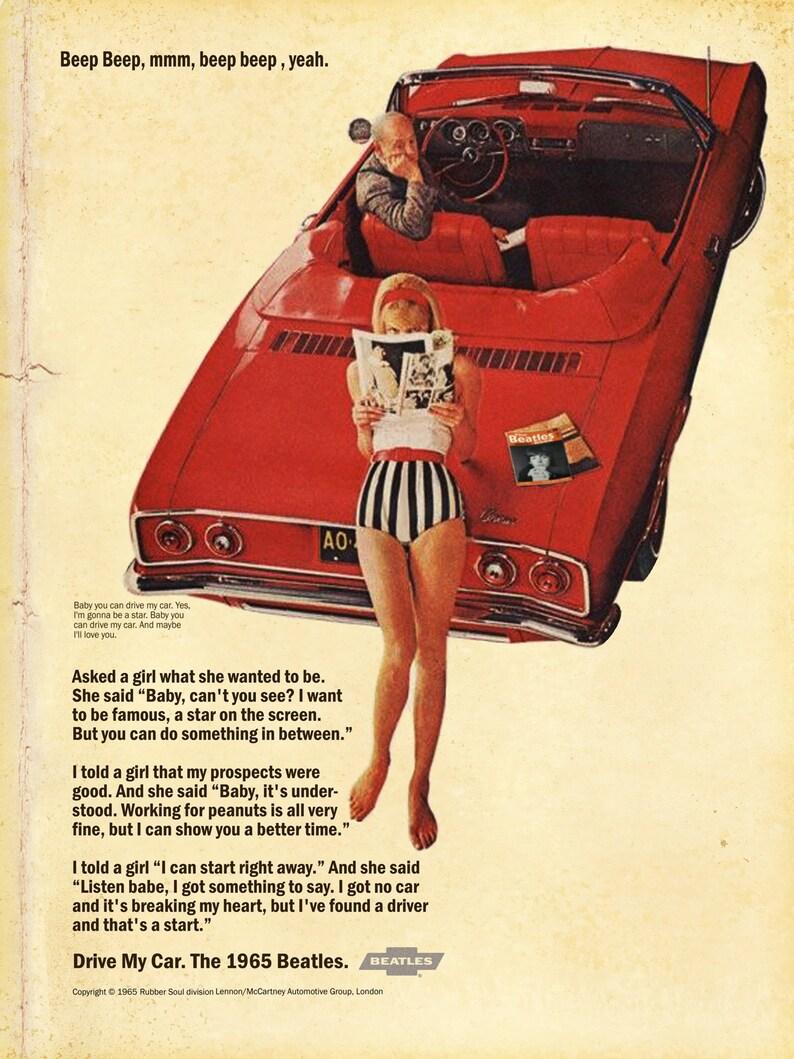 Beatles Drive My Car 1966 Chevrolet Corvair Magazine Ad Mashup Print
