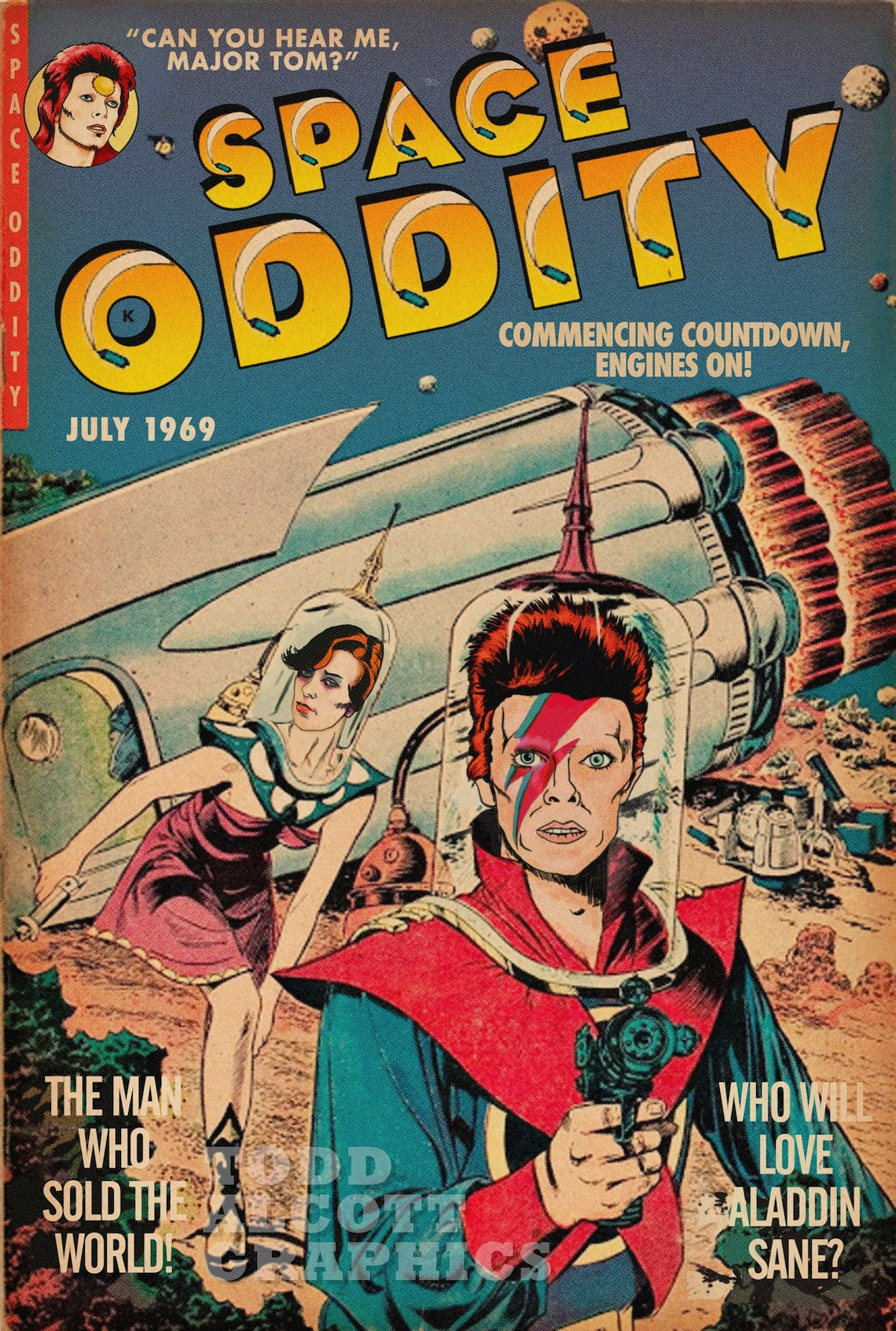 David Bowie Space Oddity Sci-Fi Comic Book Mashup image 0
