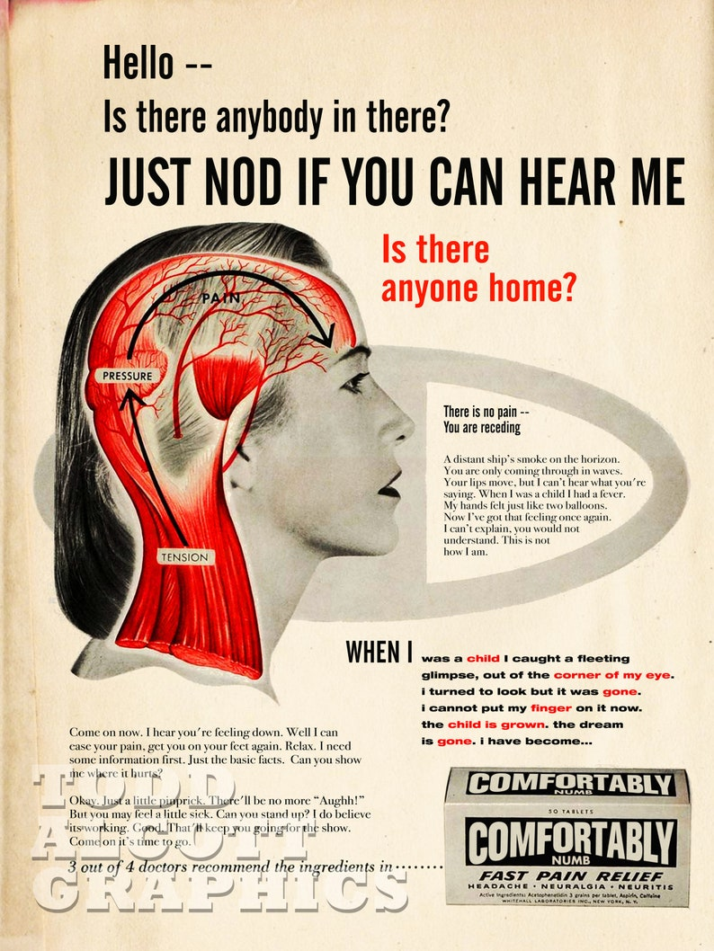 Pink Floyd Comfortably Numb Mid-century Pain image 0