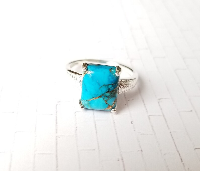 MATRIX Turquoise Solitaire Ring in Sterling Silver Size 7