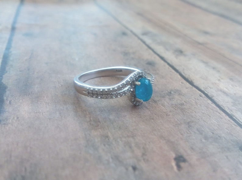 NEON APATITE and White Zircon Ring in Sterling Silver Size 7