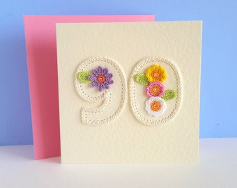 90th Birthday Card For Women Mum Grandma Crochet 90