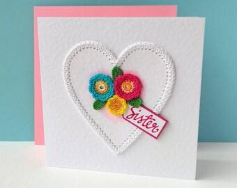 Birthday card for Sister Birthday gift sister Crochet card